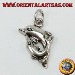 Silber Anhänger zwei Delfine Spinnen