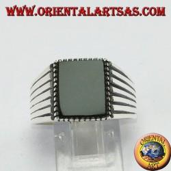 Кольцо с серебристым ониксом 925 с заостренными сторонами