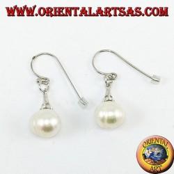 Серебряные серьги с пресноводными жемчужными подвесками с кубическим цирконием