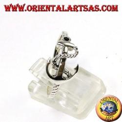 Anello d'argento, àncora di traverso con corda