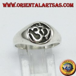 Silver ring, syllable Oṃ the most sacred carved