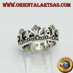 Ring in Silber 925 Krone der Königin mit Lilie