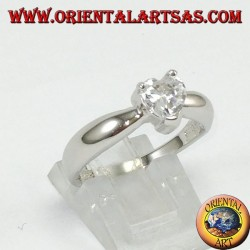 Silver ring with heart zircon, solitaire with heart