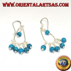 Silver dangle earrings with six turquoise beads