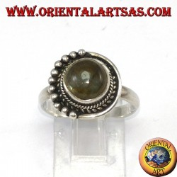 Silver ring with round labradorite