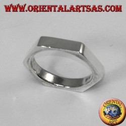 Silver ring in hexagonal shape