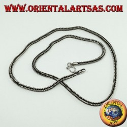 Silver necklace, snake link square section of 46 cm