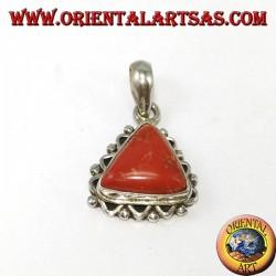 Pendentif en argent avec corail triangulaire tibétain