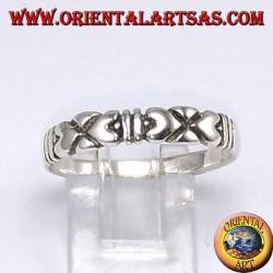 Anello d'argento , con cuori contrapposti