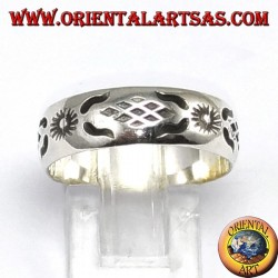 Silver ring with sun carved by hand