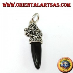 Silver dragon head pendant with onyx tip
