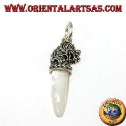 Silver dragon head pendant with mother-of-pearl tip