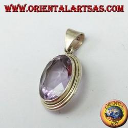 Silberanhänger mit einem großen ovalen natürlichen Amethyst