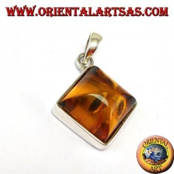 Silver pendant with square amber mounted in rhombus