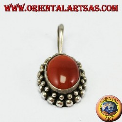 Silver pendant with oval carnelian, with the edge has two rounds of spheres
