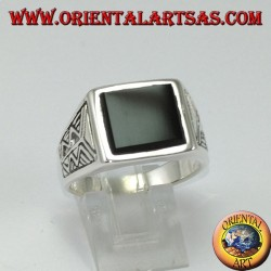 Silver ring with square onyx with Aztec engraving on the sides