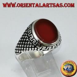 Серебряное кольцо (мужское) с плоским овальным сердоликом