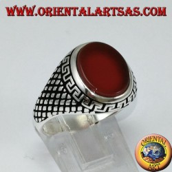 Silver ring (men's) with flat oval carnelian