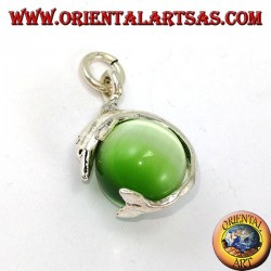 Silver dolphin pendant with green cat's eye ball