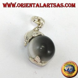 Silberner Delfinanhänger mit grauem Katzenaugenball