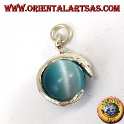 Silver dolphin pendant with blue cat eye ball