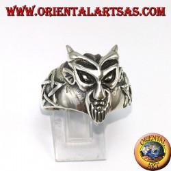 Anello in argento,Il Diavolo con pertacoli laterali