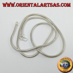 Silver necklace, Indian snake of 57 cm
