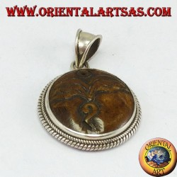 Pendant in silver Buddha eye carved in yack bone
