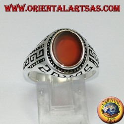 Silver ring with flat oval carnelian and Greek engraved on the sides
