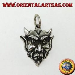Ciondolo in argento il volto del diavolo