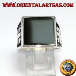 Silver ring cross of Jerusalem with onyx (large)