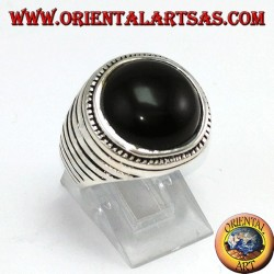 Silver ring with round hemisphere onyx