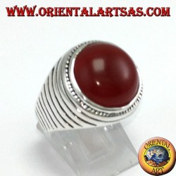Silver ring with round hemisphere carnelian