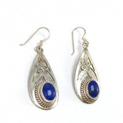 Silver earrings with oval Lapis lazuli on hand carved drop plate