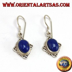 Silver earrings with oval Lapis lazuli with hand-worked rhombus edge
