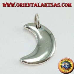Silver pendant, simple crescent