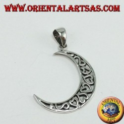 Silver pendant, moon filled with hearts