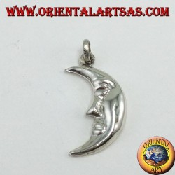 Silver pendant, the face of the moon