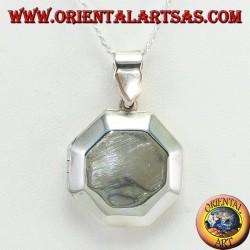 Ciondolo in argento portafoto ottagonale