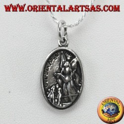 Silver pendant, Saint Michael and guardian angel (small)