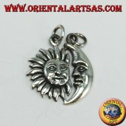 Silberner Anhänger mit Sonne und Mondpaar, teilbar
