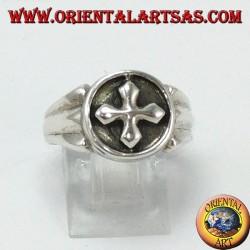 Anillo de plata con cruz griega