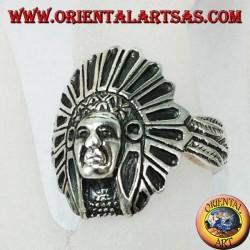 Silberner Ring mit indischem Kopf, der nach Amerika gebürtig ist