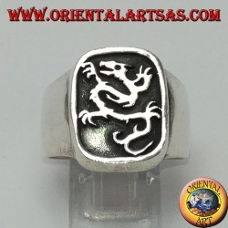 Silver ring with the dragon's seal