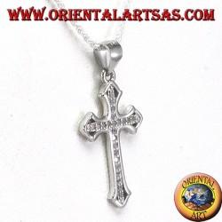 Ciondolo in argento croce con Zirconi incastonati