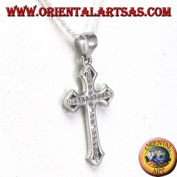 Silver pendant, cross with Zircons set