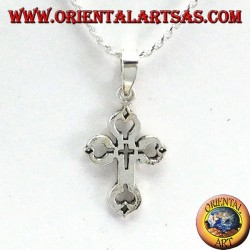 Ciondolo in argento croce intagliata nella croce