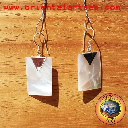Silver earrings with rectangular mother of pearl