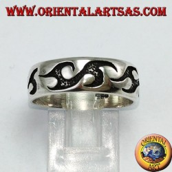 Silver ring with tribal engravings