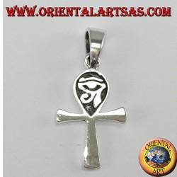 Colgante de plata egipcio cruz ankh con ojo de horus